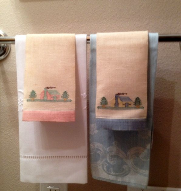 Pair of Vintage Embroidered Pink and Blue Linen Hand Towels by esmeelynne on Etsy