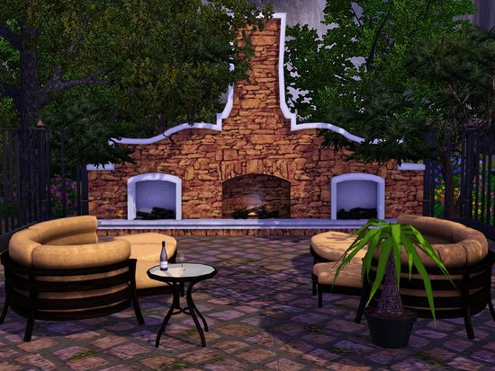 A vast patio including cozy furniture and a warm fireplace ...