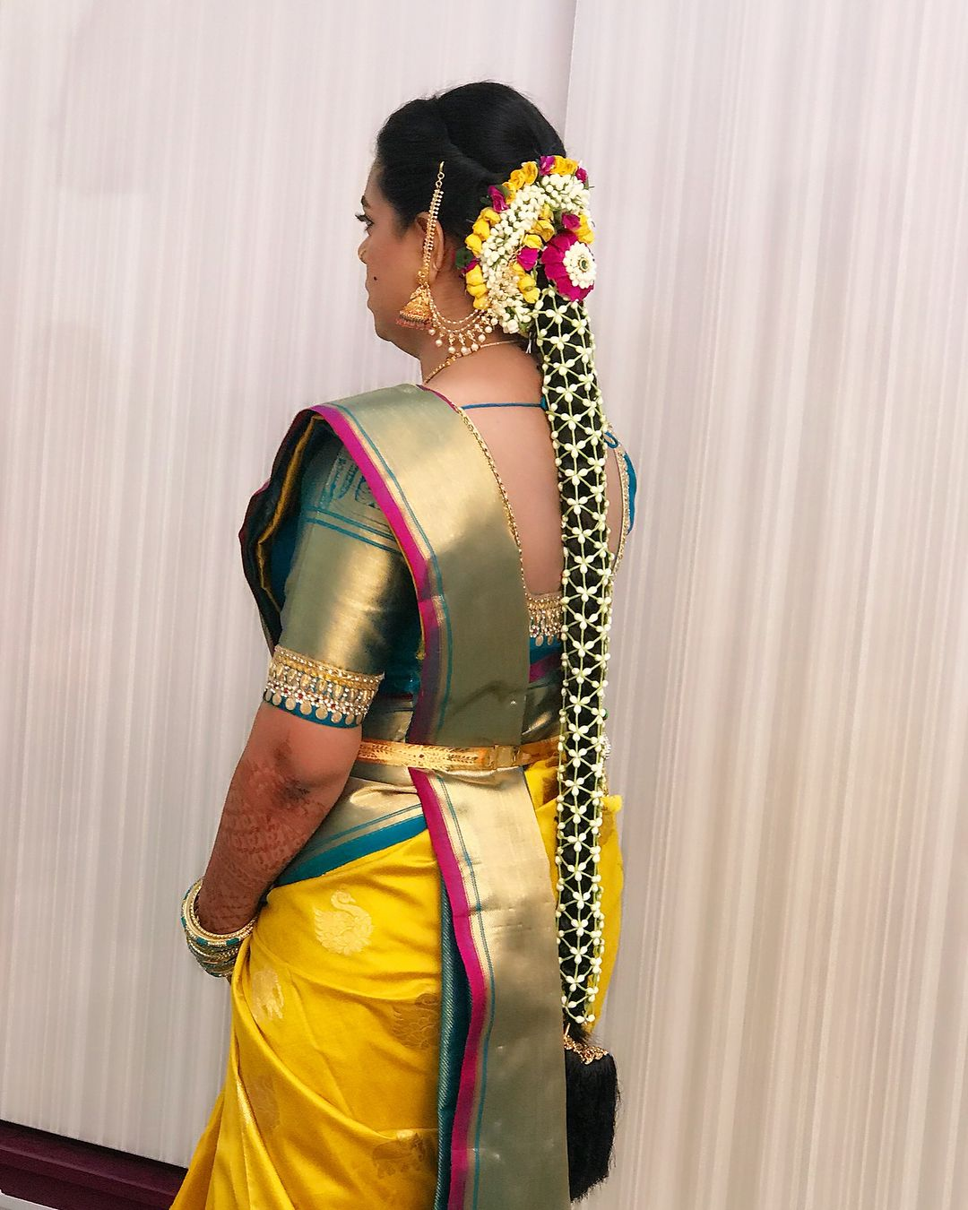 Kerala Party Hairstyles: Stunning Kerala Bridal Hairstyle With Long Braid With