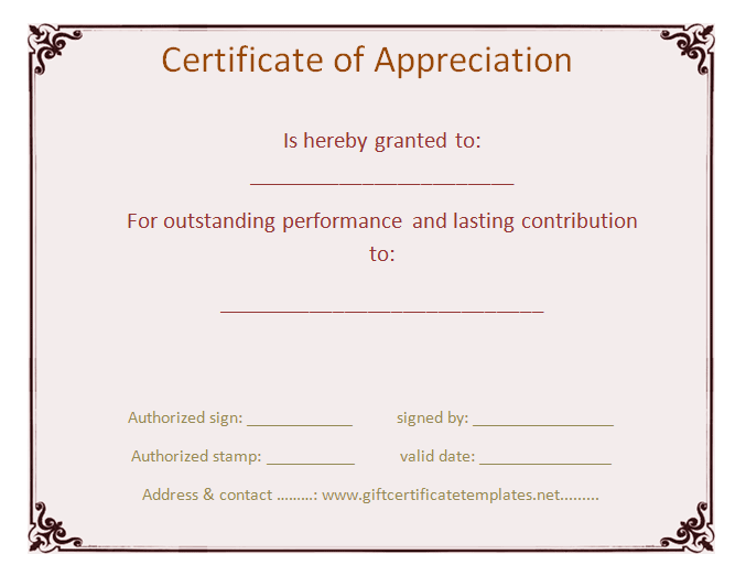 Custom Certificate Of Appreciation Free Certificate Templates