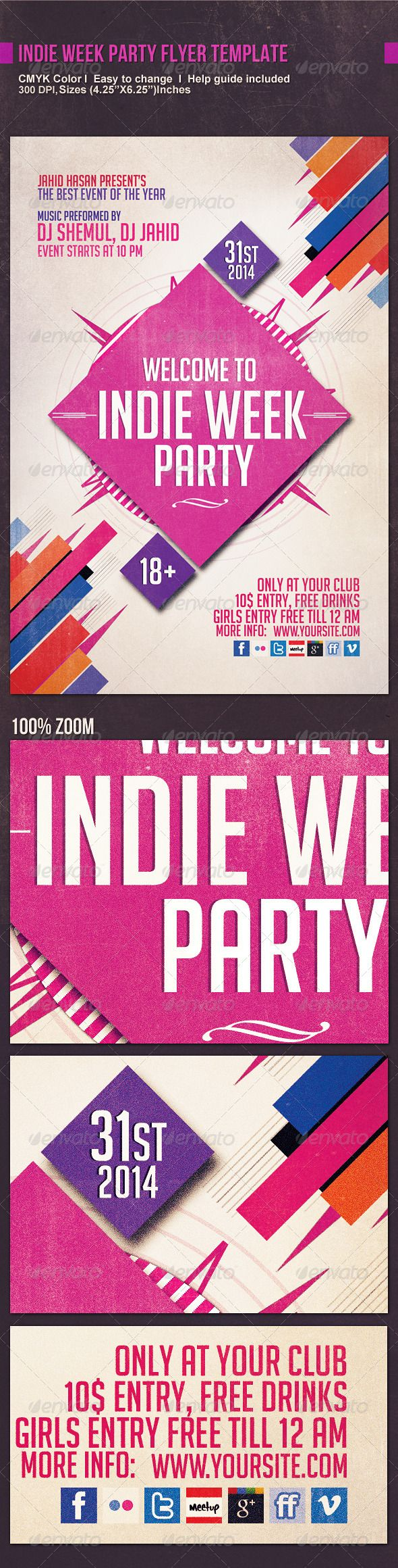 Indie Week Party Flyer Template  Photoshop Psd Old Rocked Flyer