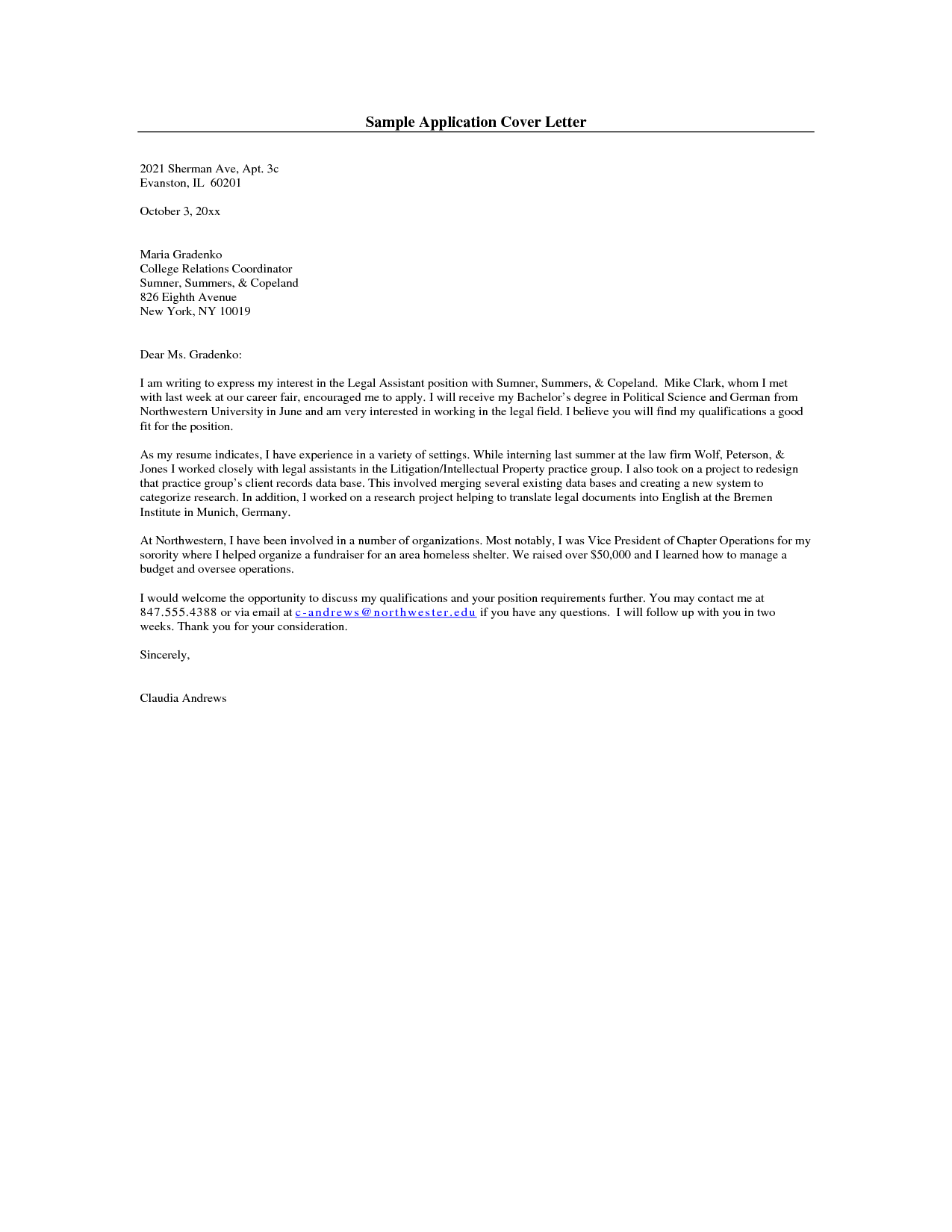 Cover Letter Example Simple Cover Letter Example For Job – Sample Application Letter