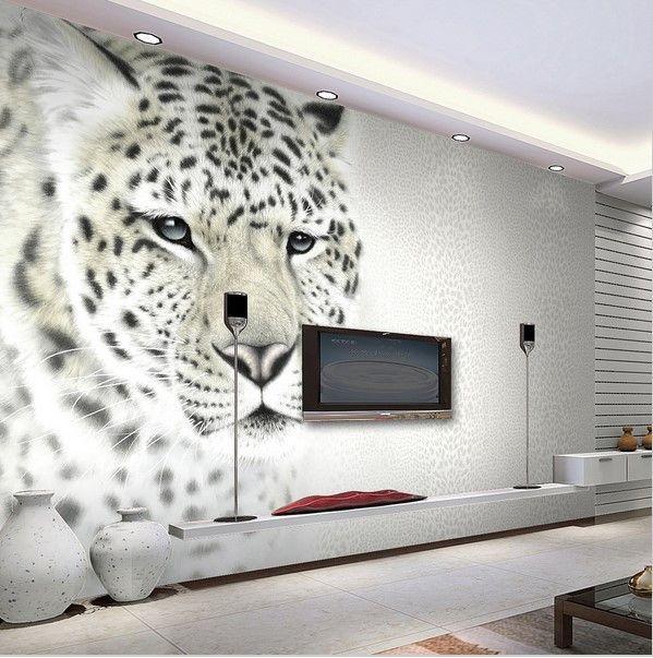 3D White Leopard Wallpaper Mural Stylish Backdrop