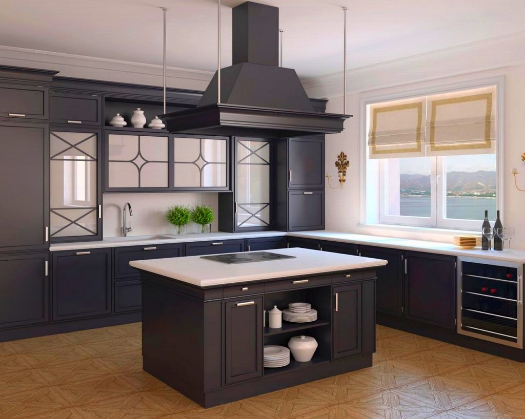 Kitchen, Open Country Kitchen Design With Dark Kitchen Cabinet And Wooden  Rangehood Over Built In