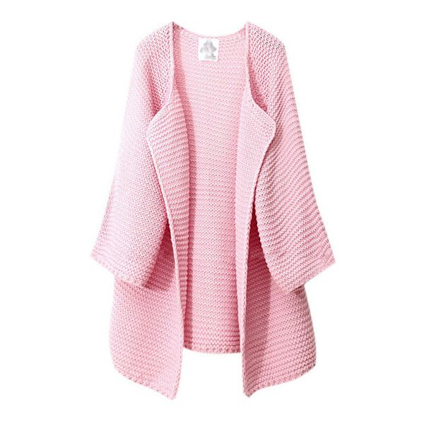 Pastel Pink Waterfall Cardigan (640.440 IDR) ❤ liked on Polyvore ...