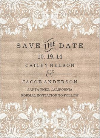 SavetheDate white lace and burlap vintage wedding invitations