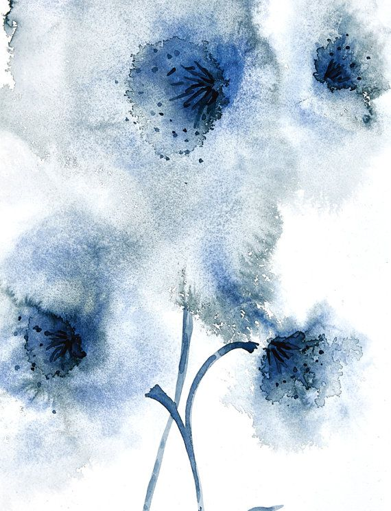 Navy Blue Abstract Flower Artwork Downloadable Wall Art Abstract