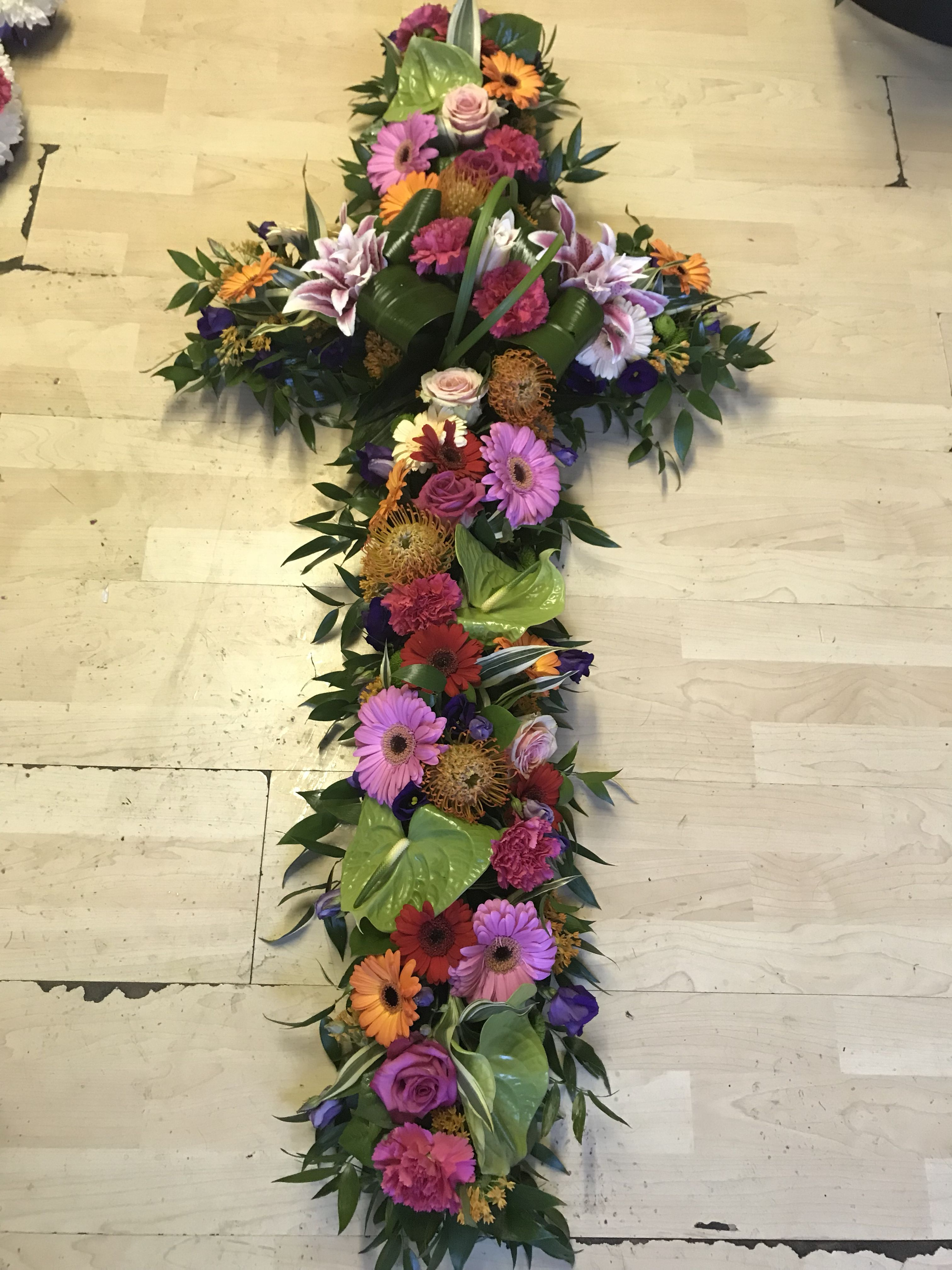 Large Bright Funeral Cross Bloomin Chic Funeral Flowers