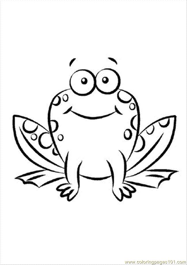 Simple Frog Add Crown For Frog Prince Butterfly Coloring Page