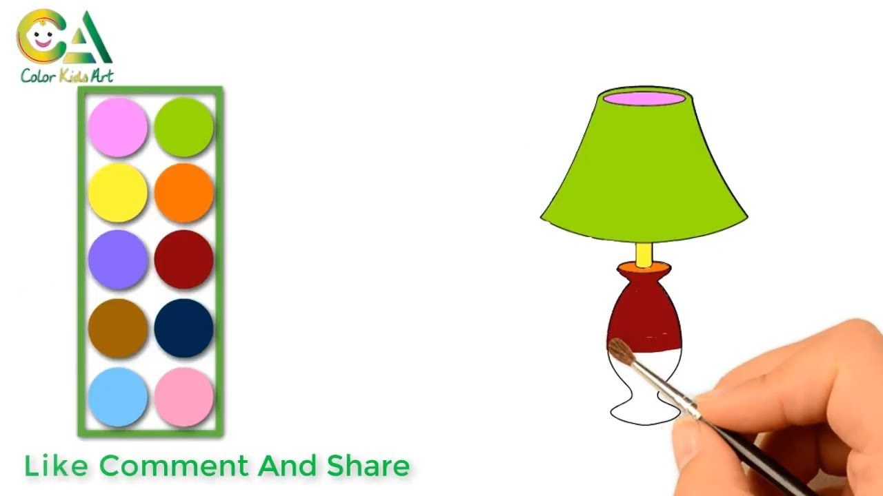 How To Draw A Table Lamp Table Lamp Coloring For Kids Table La Coloring For Kids Kids Table Lamp Art For Kids