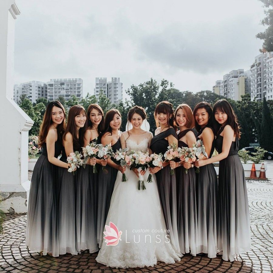 Ombre Chiffon One Shoulder A Line Bridesmaid Dresses Ombre Wedding Dress Black And White Wedding Theme White Bridesmaid Dresses [ 900 x 900 Pixel ]