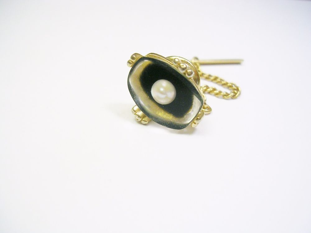 Vintage Black Oval Acrylic Silver Tone Chain Mens Tie Tack Pin