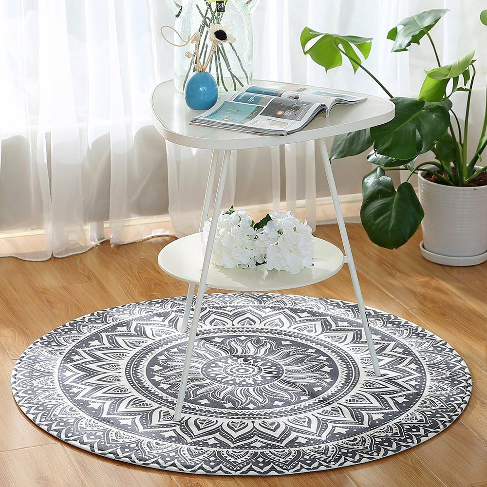 Leevan Modern Flannel Memory Foam Round Area Rug Microfiber Non Slip Machine Washable Circular Rugs Livi In 2020 Round Area Rugs Dining Table Rug Circular Dining Table #soft #area #rug #for #living #room