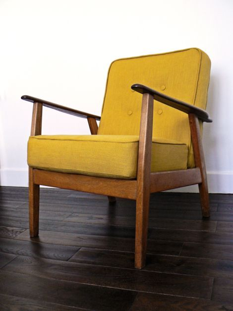 1960s armchair with wooden frame and box cushions, re-upholstered in mustard linen. Phil ...