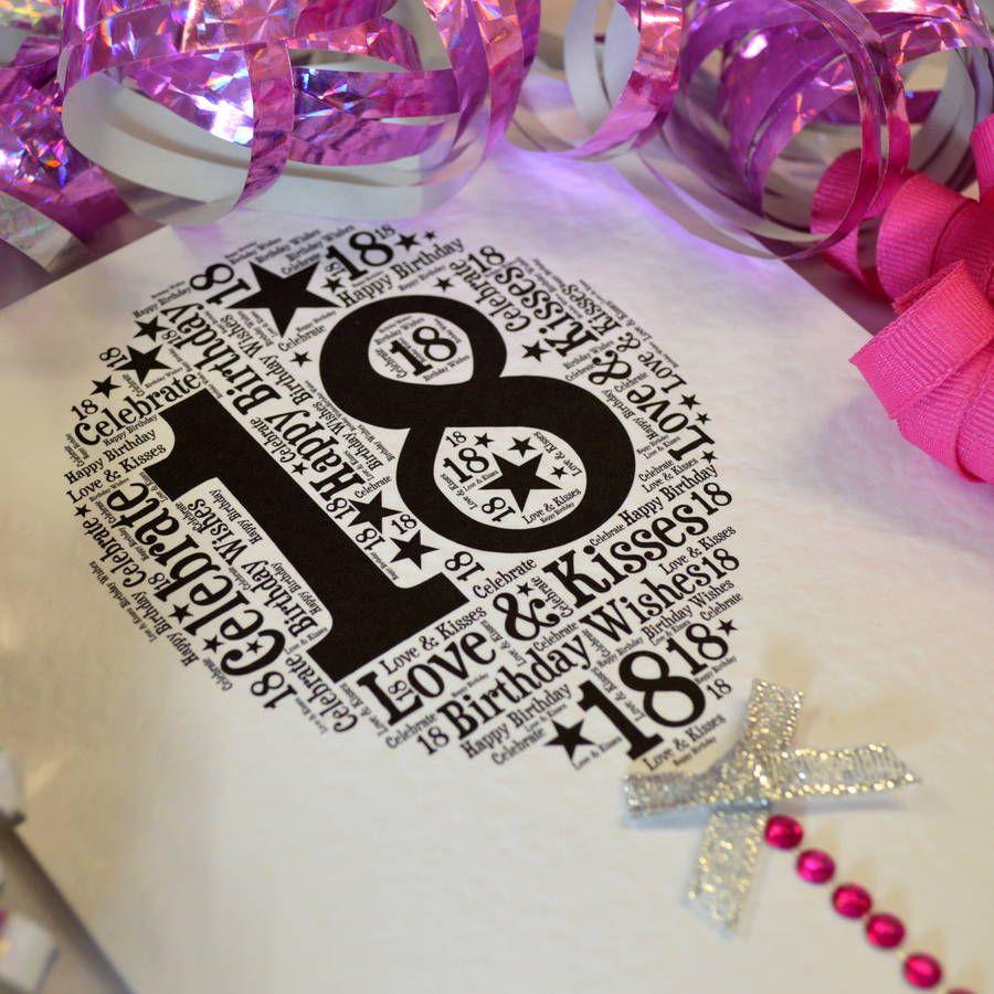 18th Happy Birthday Balloon Sparkle Card – Happy 18th Birthday Card