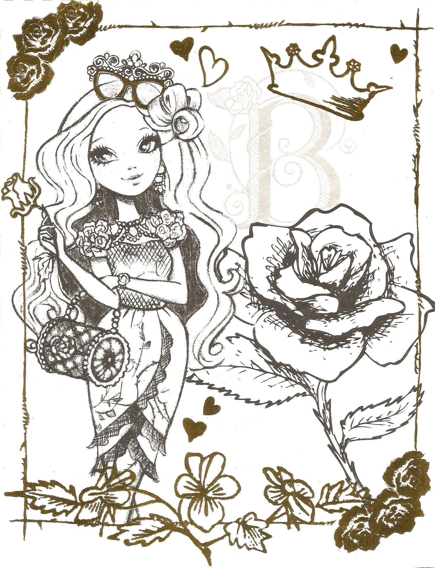 Free line Printable Ever After High Coloring Sheets