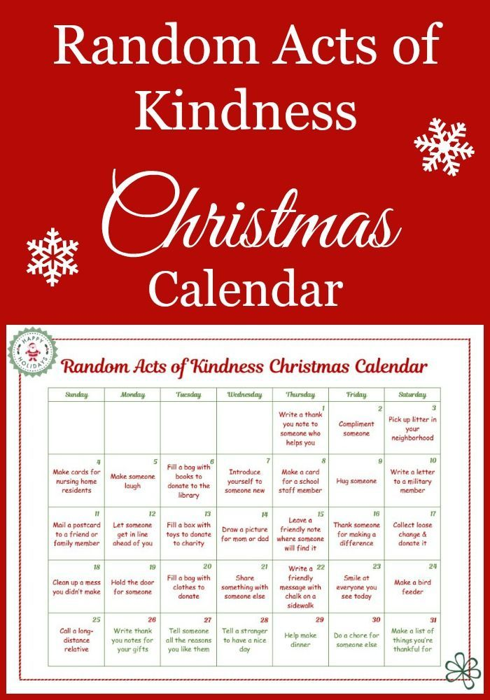 this random acts of kindness christmas calendar was created just for kids they 39 re all acts of. Black Bedroom Furniture Sets. Home Design Ideas