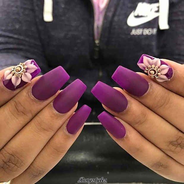 3d Flowers Nail Designs 2017 2018 Pinterest Dark Purple Nails
