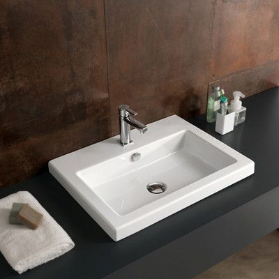 Great Point Ceramic Rectangular Undermount Bathroom Sink With