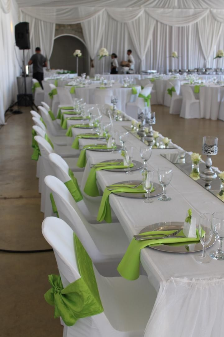 Happy Hearts, Cape Town wedding: Lime green, white and silver ...
