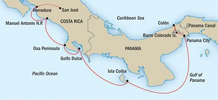 Costa Rica the Panama Canal Route Map Trips to take