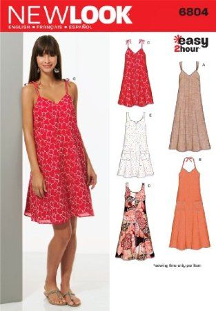 Amazon.com: New Look Sewing Pattern 6804 Misses Dresses, Size A (8 ...
