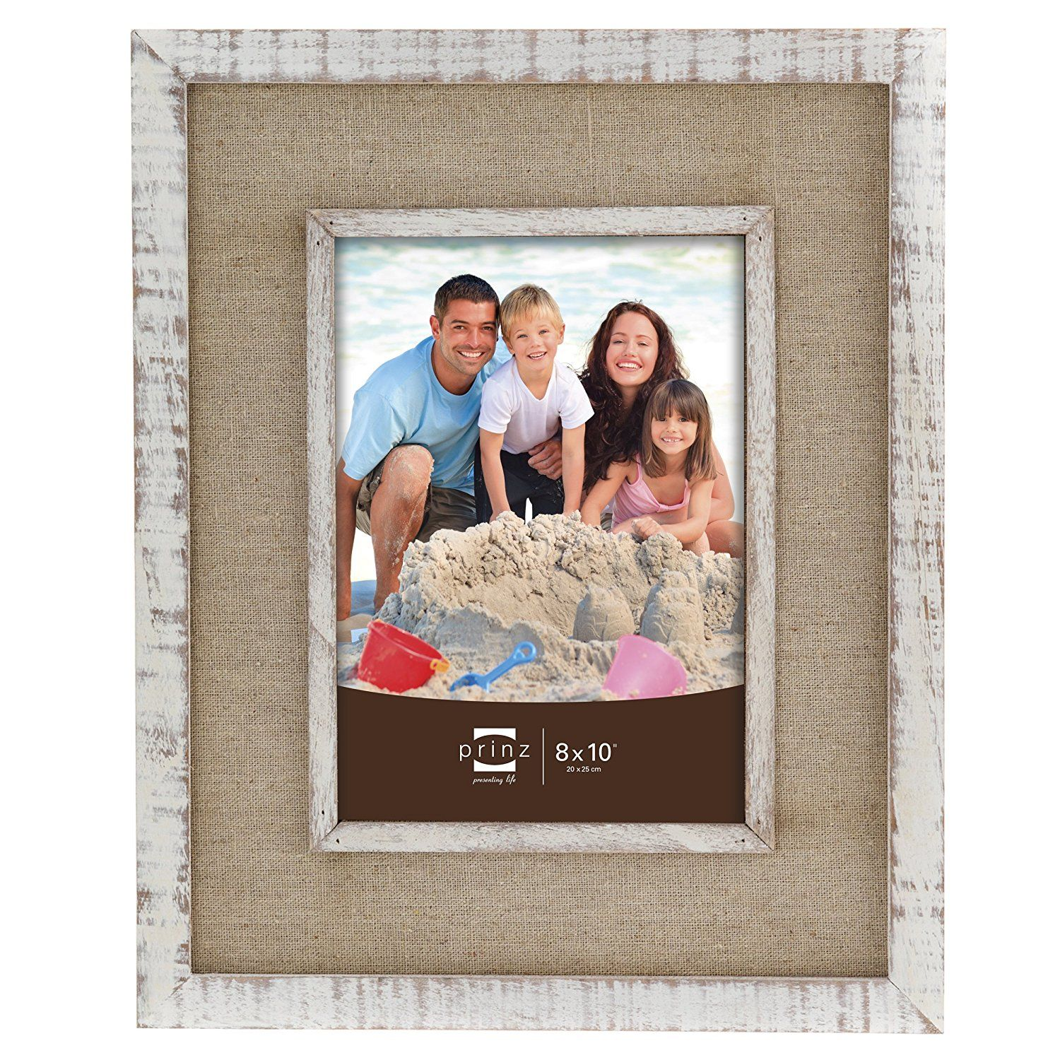 Prinz Shore Side Distressed White Frame With Beige Linen Border 8 By 10 Inch Want To Know More Click On The White Distressed Frame Distressed White Frame