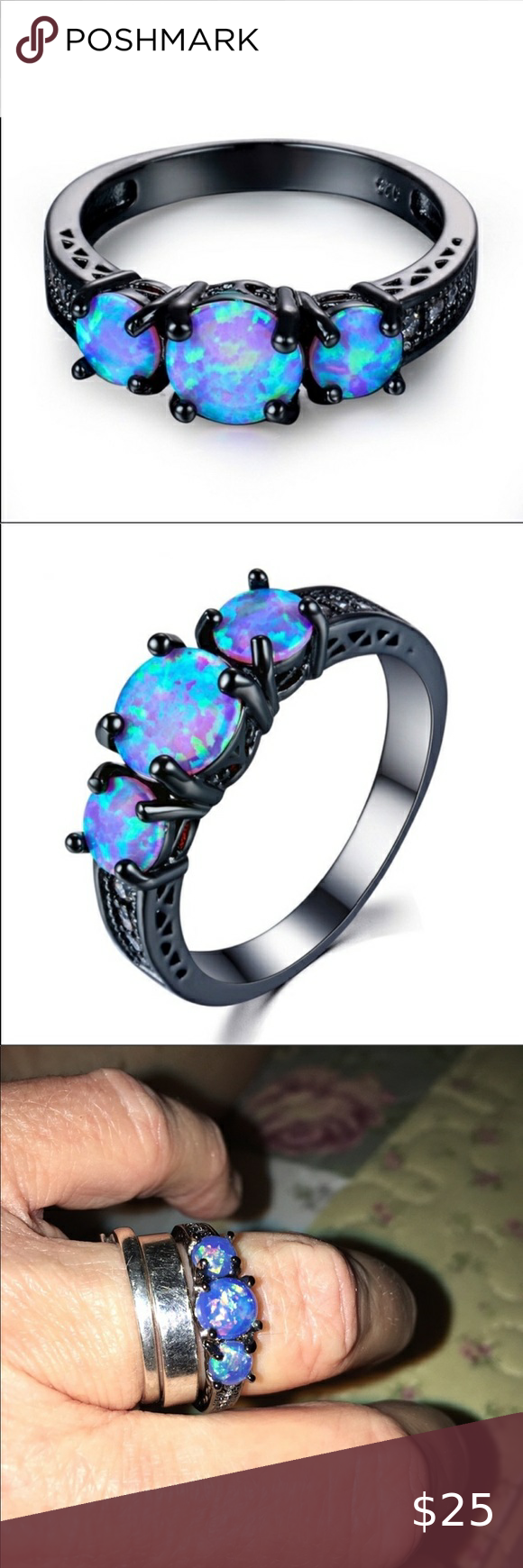 Blue Fire Opal Greek Key Design 925 Sterling Silver Ring Sizes 4 10 925 Sterling Silver Ring Greek Ring Rings