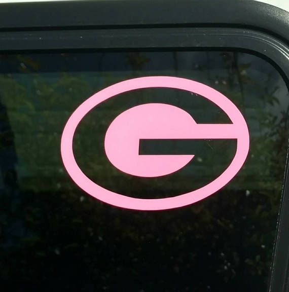 Pink green bay packers die cut vinyl decal window car sticker