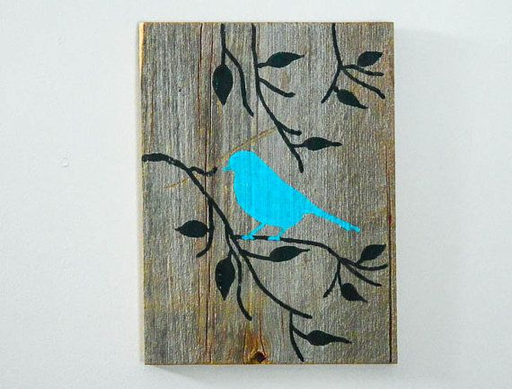 Reclaimed barnwood hand painted wood wall art rustic art turquoise cottage chic decor bird on branch silhouette design
