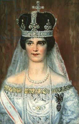 Zita De Bourbon-parme : bourbon-parme, Coronation, Portrait, Bourbon-Parme, Queen, Hungary,, (colour, Litho), European, Royalty,