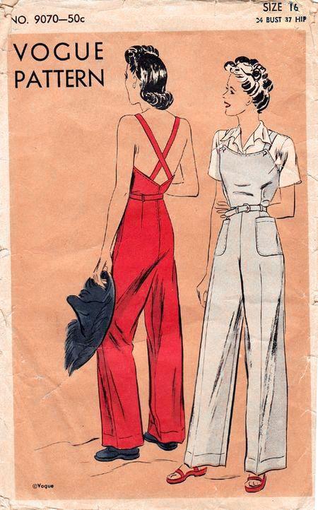 40s 1940s vintage rosie the riveter pattern workwear slacks overalls ...