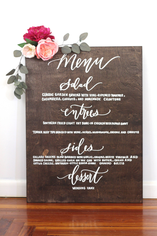 custom wedding menu sign rustic wedding signs dinner