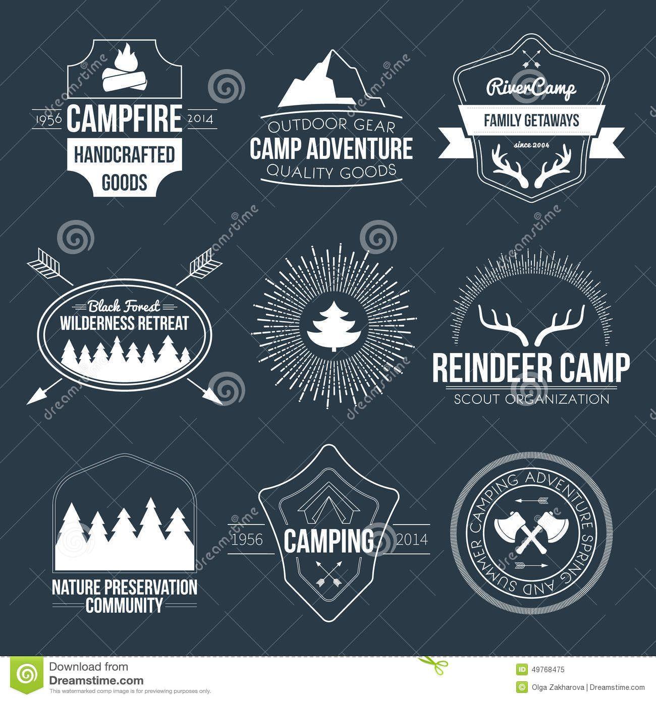summer camp crest | Camping icons, Logo set, Vintage camping