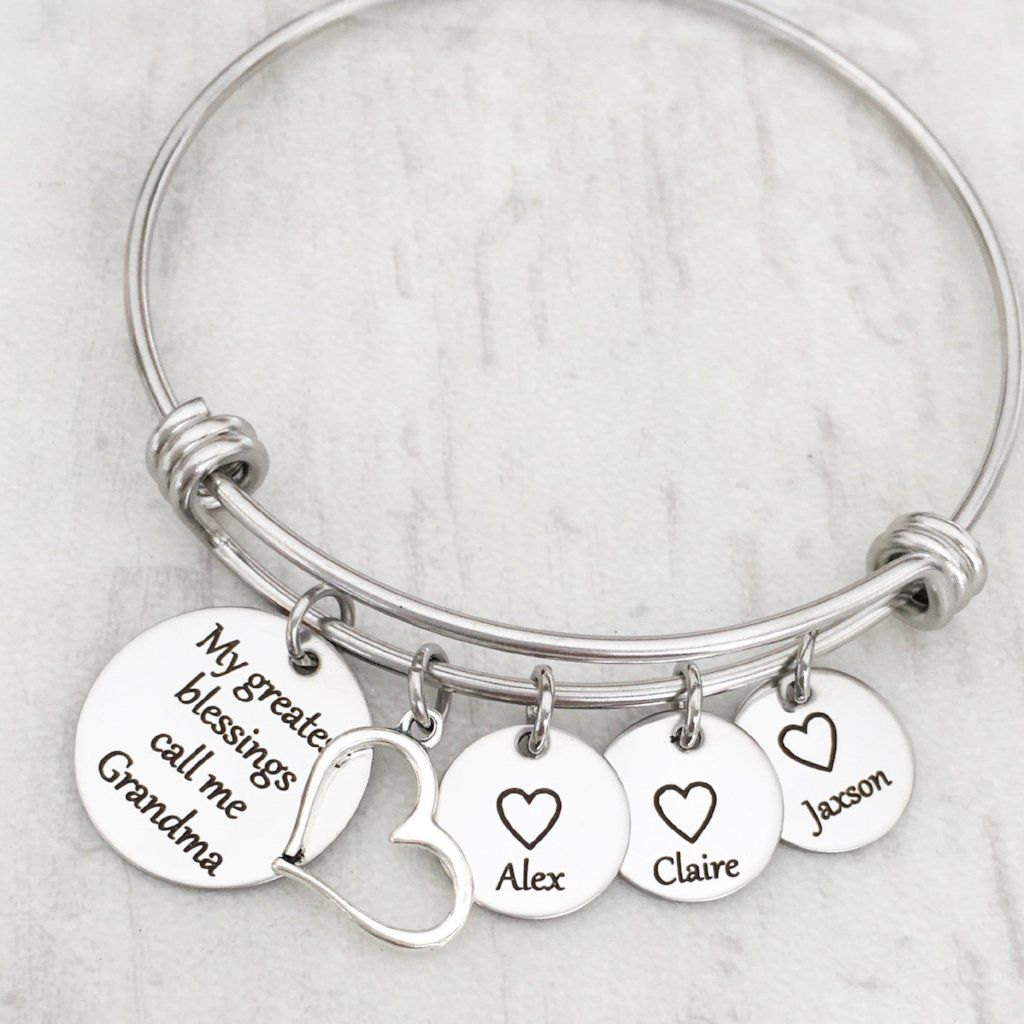 Personalized My Greatest Blessings Call Me Grandma Name Charm Bracelet