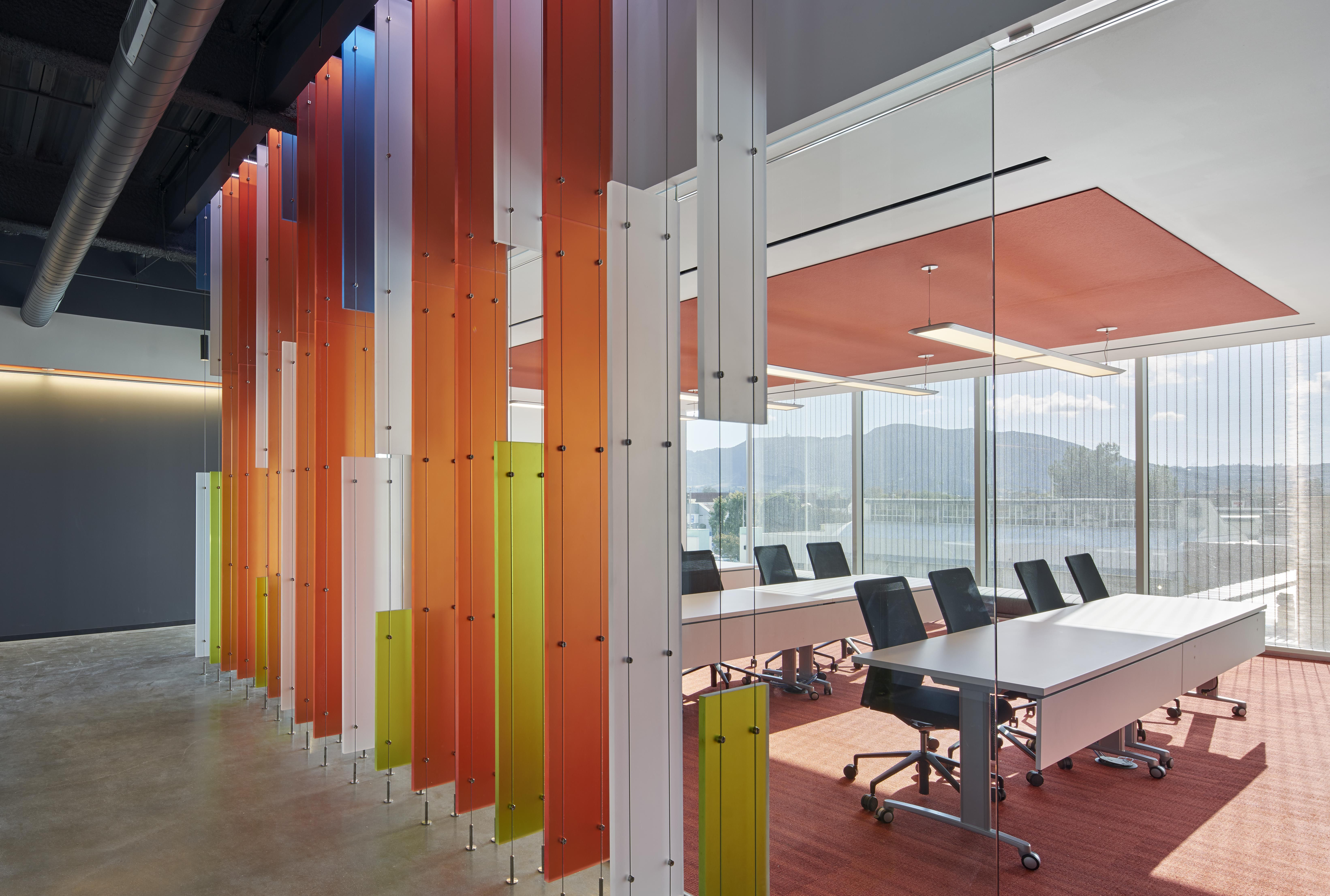 Designers Specify 3form Chroma And Customized Suspend Hardware To Carry  Bold Color From The Lobby Through