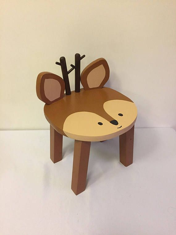 Charmant Woodland Animal Stool Reindeer Deer Hand Painted Wood Kids