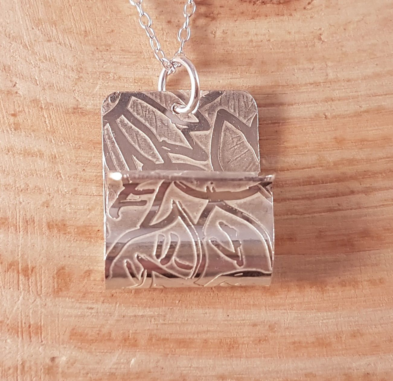 Hand made sterling silver etched curl necklace simple silver hand made sterling silver etched curl necklace simple silver necklace matching silver jewellery aloadofball Images