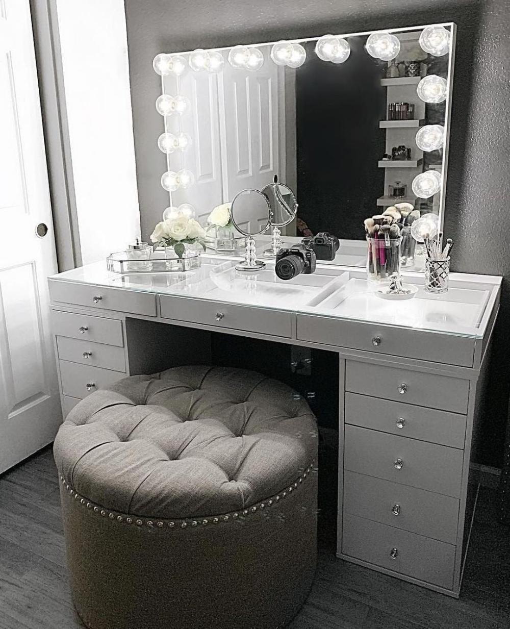 Photo of Hollywood Make-up Kosmetikspiegel mit Licht-Impressionen Eitelkeit Leuchten Pro Make-up Kosmetikspiegel mit Dimmer-Leuchten für Tisch oder Wand Montiert