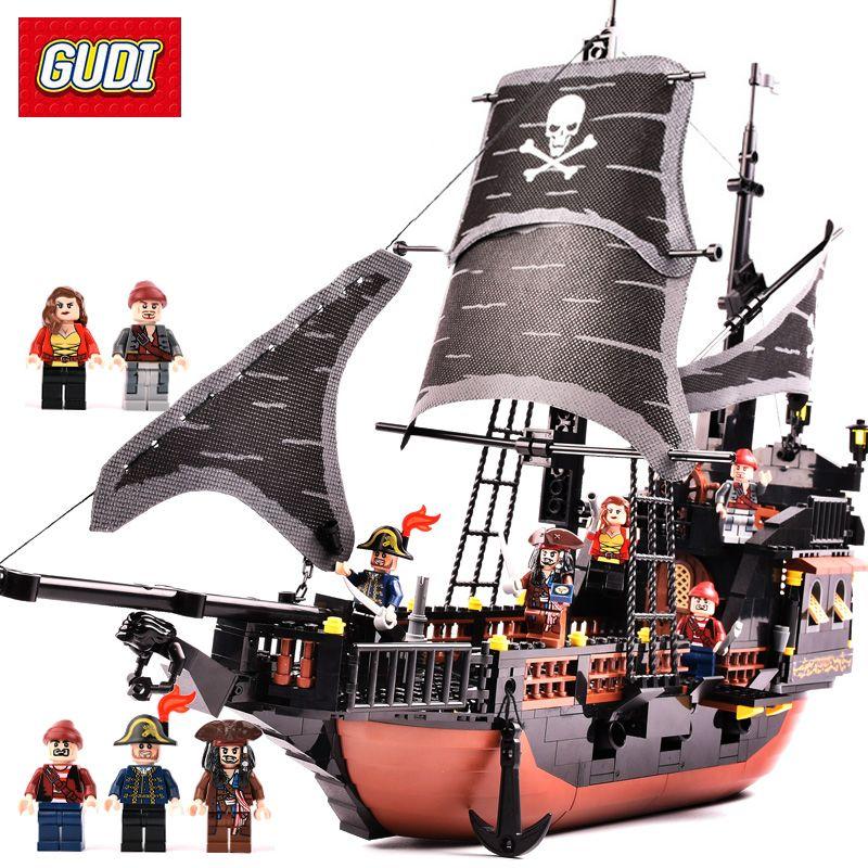 Gudi 652pcs Pirates Caribbean Black Pearl Ghost Ship Large Models Building Blocks Educational Birthday Gift Model Building Pirate Ship Birthday Gifts For Kids