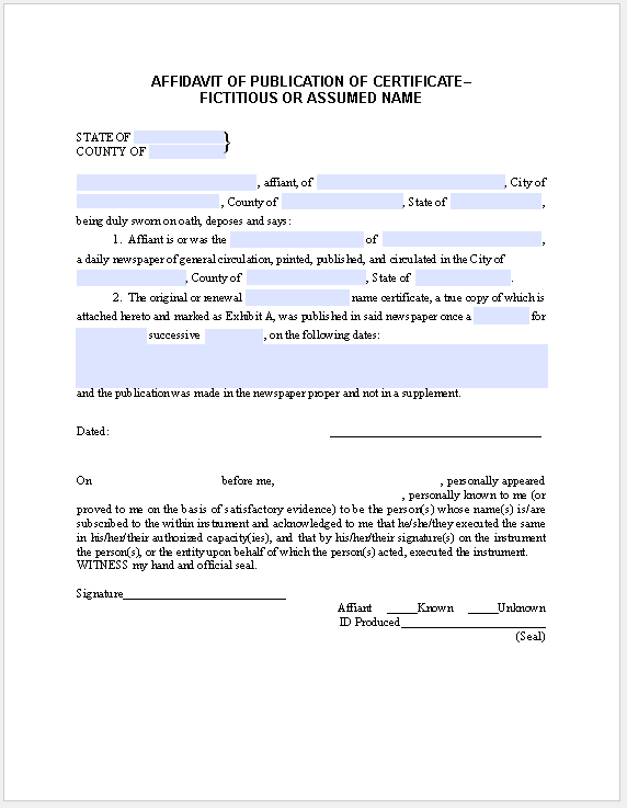 Affidavit Form PublicationCertificate Fictitious Name  Official