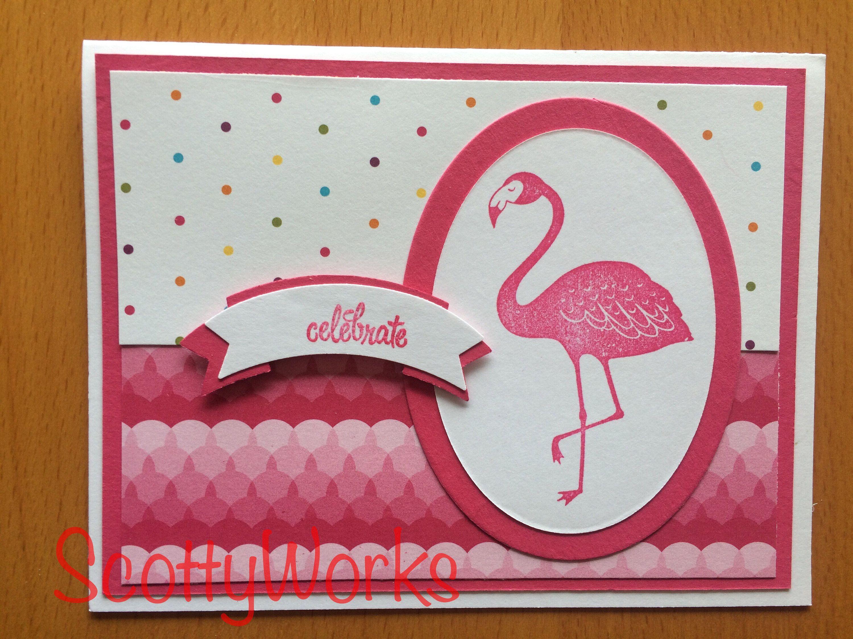 Flamingo celebrate card flamingo birthday card flamingo