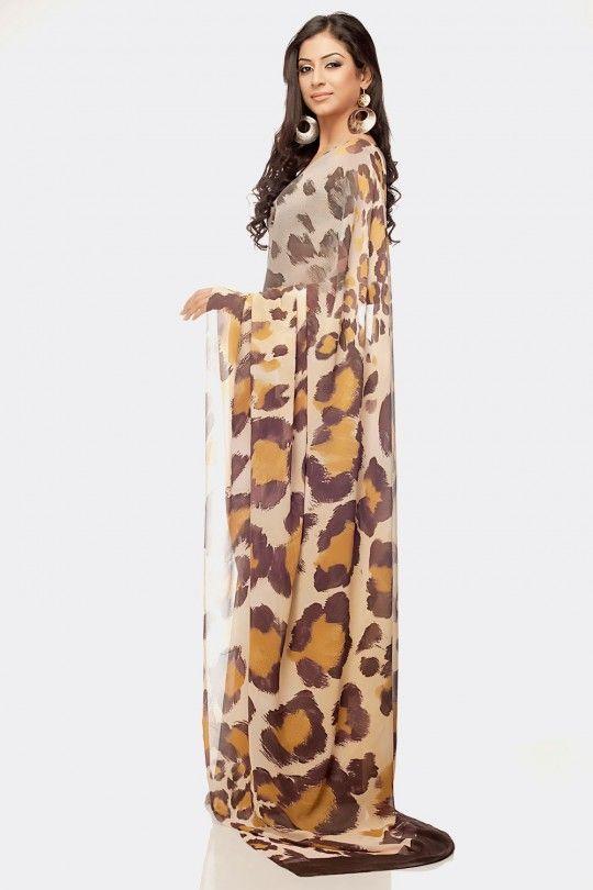 646cedfc5874 Large leopard print pattern saree.   Leopard in 2019   Fashion ...