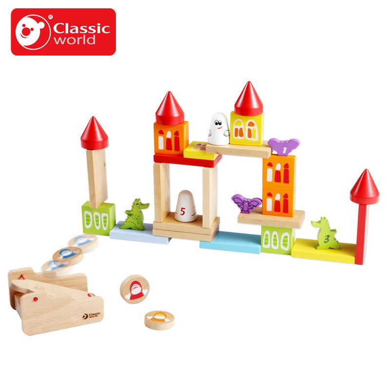 Classic World Kindom Wooden Color Building Blocks Childrenu0027s Toy For Color  U0026 Shape Identification Exerciseand
