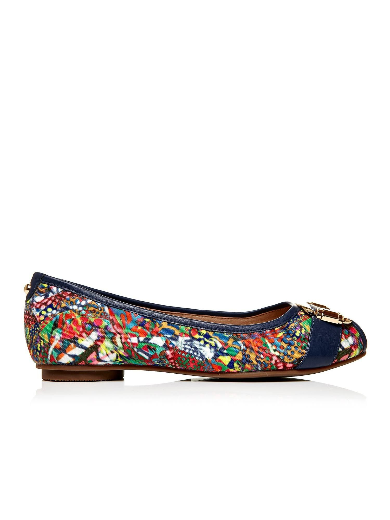 Moda in Pelle Ettore peep toe ballerina shoes, Multi-Coloured
