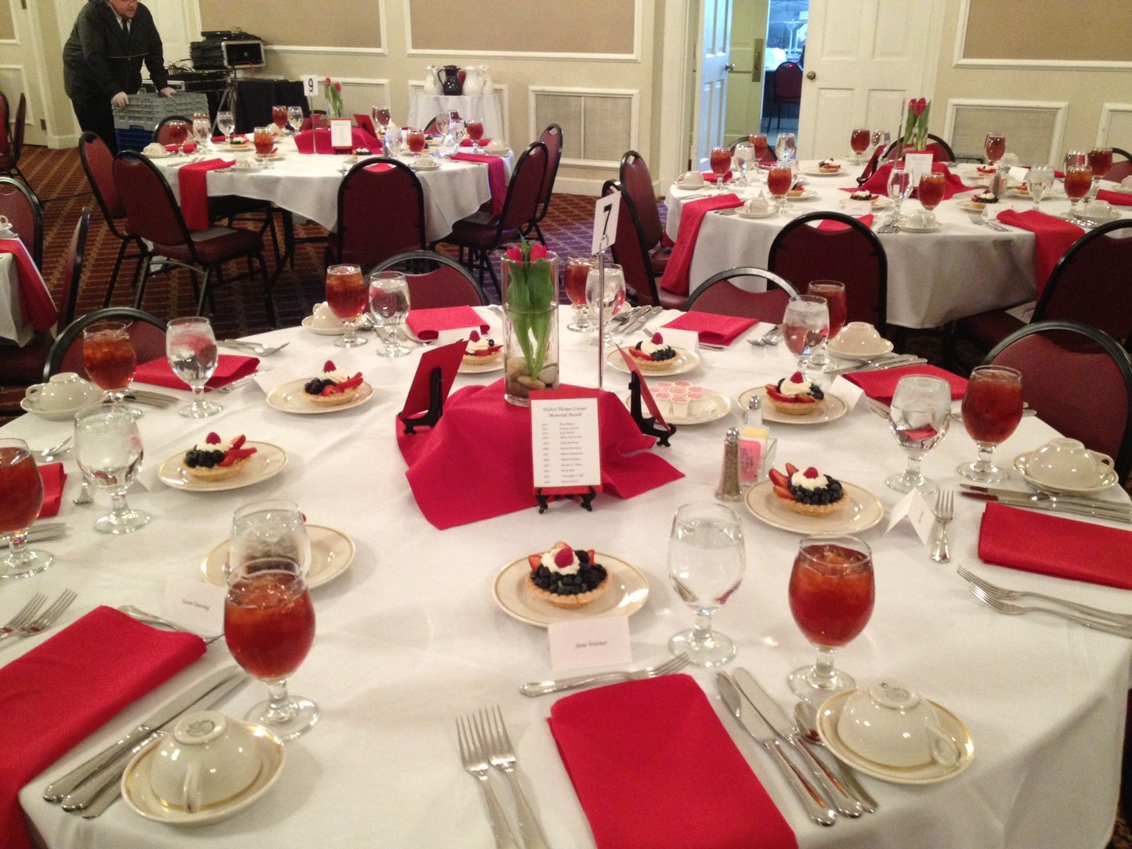 Tablescape for student awards banquet event
