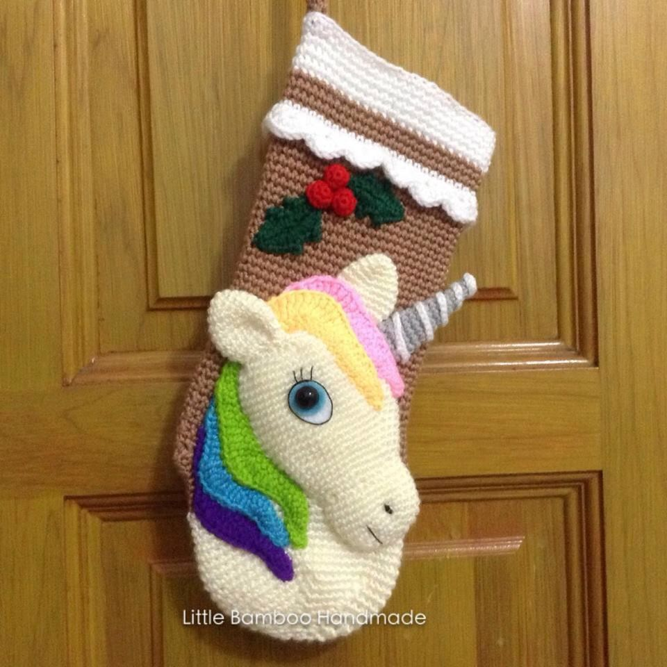 PATTERN-Unicorn Christmas Stocking-Crochet Pattern, pdf | Deko ...