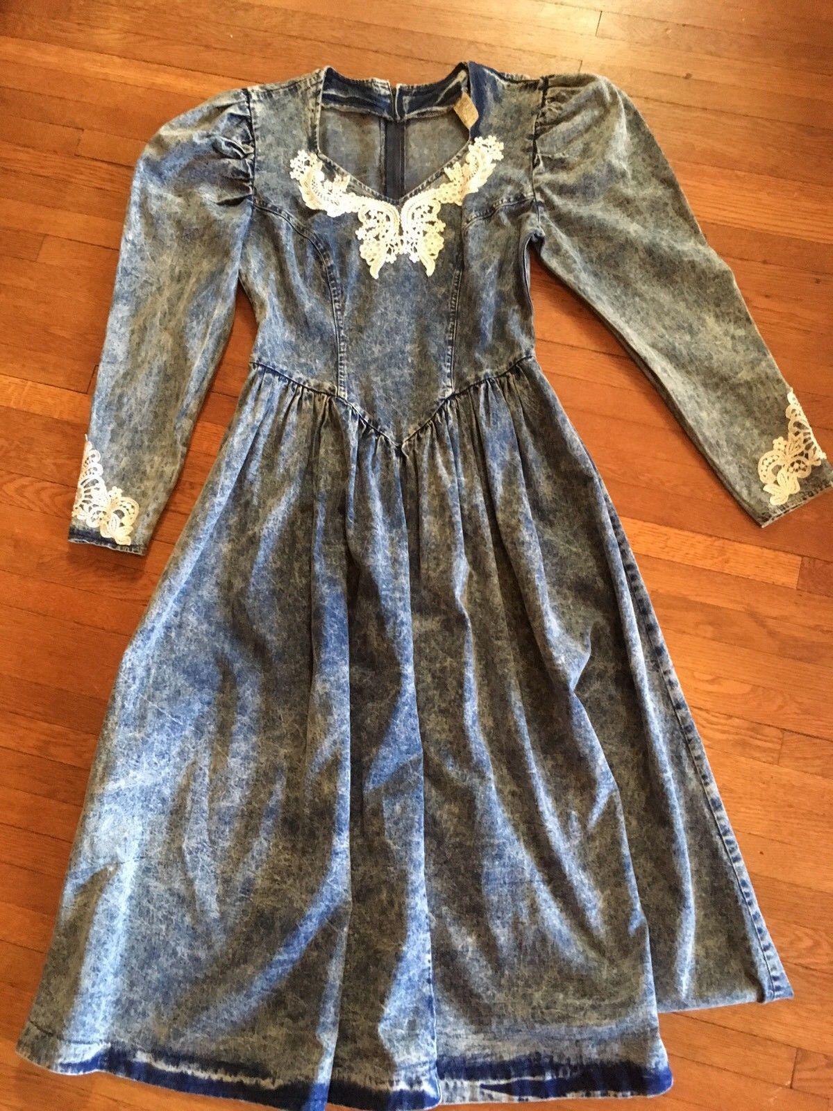 Miss rodeo usa size long dress vtg ss western denim lace