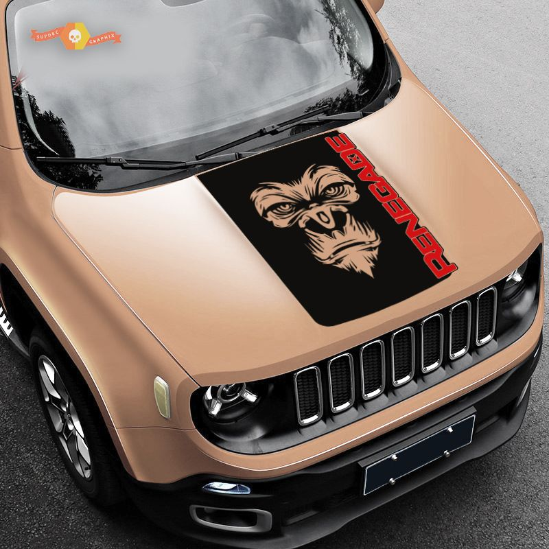 2 Color Hood Jeep Renegade Yeti Bigfoot Sasquatch Logo Graphic Vinyl Decal Suv With Images Jeep Renegade Jeep Renegade
