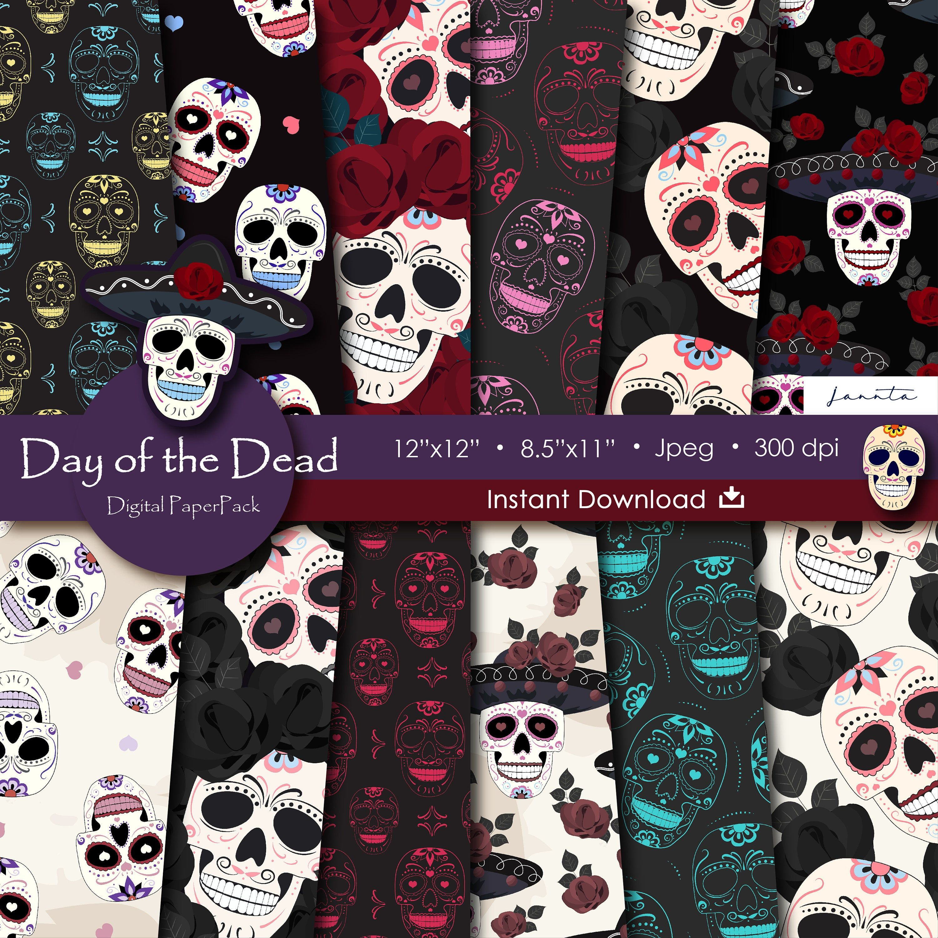 Skull digital paper day of the dead scrapbook paper halloween pattern coco party halloween background commercial use D676